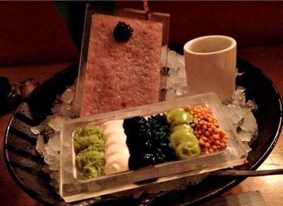 toro tartare: kaluga caviar, sour cream, wasabi, dashi soy