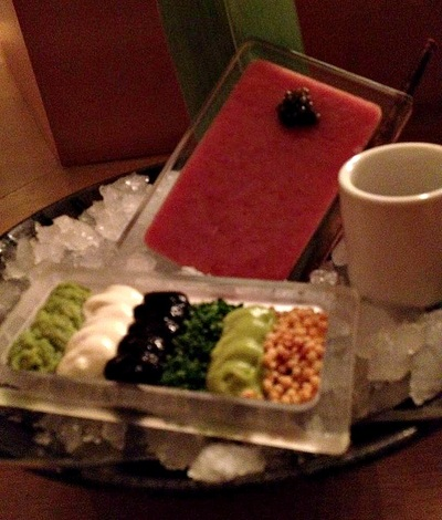 hamachi tartare: kaluga caviar, sour cream, wasabi, dashi soy