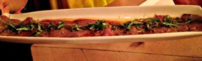 wagyu beef carpaccio: yuzu soy, ginger, sweet garlic