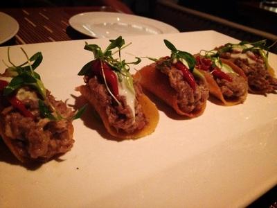 pulled pork tacos: polenta tuille, tomato marmalade, avocado