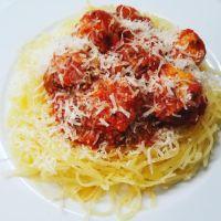 spaghetti squash w/ turkey meatballs